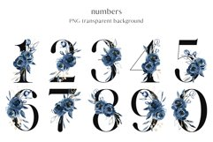 Alphabet, letters and numbers with watercolor blue flowers Product Image 3