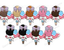 4th of July CUTE DOLLS Independence Day USA American PNG Product Image 3