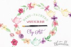 Watercolor Teapot Flower Wreath Floral Clipart Set Product Image 1