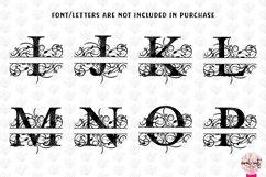 Floral Split Monogram - Alphabets A to Z - EPS SVG DXF JPG Product Image 3