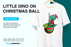 Little Dino on Christmas Ball Vector Illustration Product Image 2