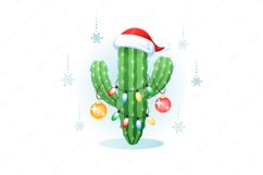 Merry Christmas. Greeting card with a cactus. Product Image 1