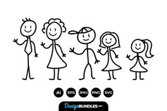 Stick Family Clipart Product Image 1