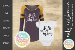 Milk Maker & Milk Taker Mom & Baby Tee Design SVG Product Image 1