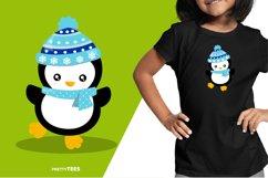 Baby Penguin Blue Scarf T-Shirt Design | Sublimation T-Shirt Product Image 3