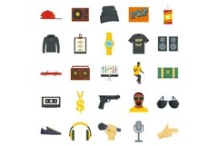 Hiphop rap swag music dance icons set, flat style Product Image 1