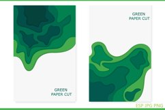 Abstract design background with green and blue cut paper Product Image 5