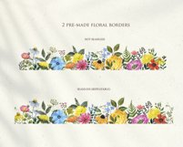 Summer Wildflowers Clipart Watercolor Floral Bicycle Bee Product Image 4
