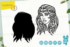 Witch svg, Witch clipart, Witch cut files, Girl face svg Product Image 3