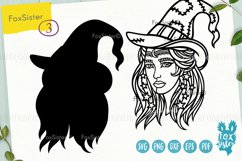 Witch svg, Witch clipart, Witch cut files, Girl face svg Product Image 4