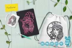 Witch svg, Witch clipart, Witch cut files, Girl face svg Product Image 5