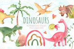 Watercolor cute dinosaurs clipart PNG Product Image 1