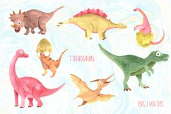 Watercolor cute dinosaurs clipart PNG Product Image 2