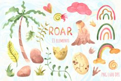 Watercolor cute dinosaurs clipart PNG Product Image 3