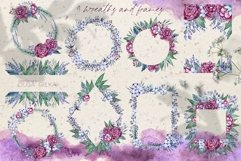 Burgundy peonies watercolor clipart set Product Image 4