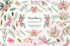 Watercolor Flowers Clipart Floral Wreath PNG   Drawberry Product Image 1