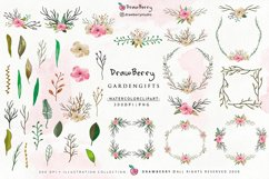 Watercolor Flowers Clipart Floral Wreath PNG   Drawberry Product Image 2