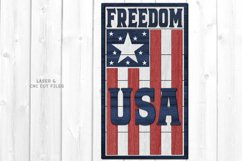 Freedom USA Flag Shiplap Vertical Sign SVG Glowforge Files Product Image 1