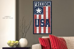 Freedom USA Flag Shiplap Vertical Sign SVG Glowforge Files Product Image 2