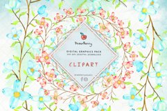 Floral Wreath Clipart Blue Pink Flowers PNG|Drawberry CP071 Product Image 1
