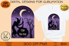 Halloween Hand Drawn Witch Sublimation Design- Stir the pot Product Image 2
