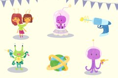 Funny Aliens Watercolor Style Clip Art Product Image 3