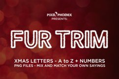 Fur Trim Christmas Letters PNG files in red with white trim