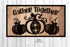 Farmhouse Plaid Pumpkin Welcome Sign SVG Glowforge Files Product Image 4