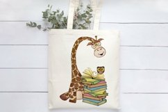 Book Lover Sublimation   Giraffe with Books Print Product Image 4