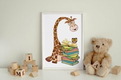 Book Lover Sublimation   Giraffe with Books Print Product Image 3
