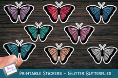 Printable butterfly stickers - glitter