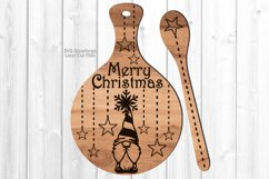 Merry Christmas Gnome Cutting Board Spoon SVG Laser Files Product Image 1