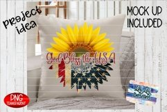 God Bless the USA American Flag Sunflower Split PNG Product Image 5