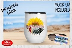 God Bless the USA American Flag Sunflower Split PNG Product Image 4