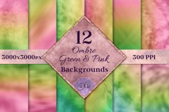 Ombre Green and Pink Backgrounds - 12 Image Set Product Image 1