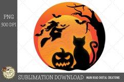 Halloween moon flying witch black cat jack-o-lantern sublimation file