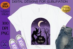 Halloween Hand Drawn Witch Sublimation Design- Stir the pot Product Image 3