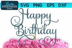 Happy Birthday Cake Topper SVG | Birthday SVG Product Image 1