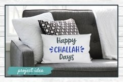hanukkah svg cut file happy challah days design on white horizontal couch throw pillow mockup