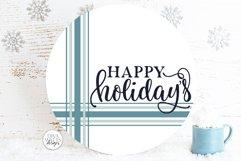Happy Holidays Plaid SVG | Farmhouse Christmas Round Design Product Image 1
