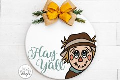 Hay Y'all Scarecrow SVG | Fall Round Sign Design Product Image 1