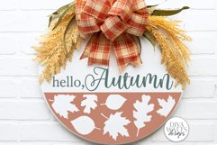 Hello Autumn SVG | Fall Round Sign Design Product Image 1