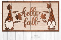 Hello Fall Shiplap Garden Gnome Sign SVG Glowforge Files Product Image 1