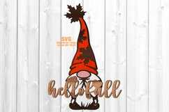 Hello Fall Garden Gnome Welcome Sign SVG Glowforge Files Product Image 1