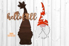 Hello Fall Garden Gnome Welcome Sign SVG Glowforge Files Product Image 3