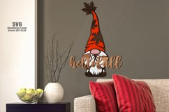 Hello Fall Garden Gnome Welcome Sign SVG Glowforge Files Product Image 2
