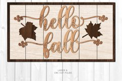 Hello Fall Shiplap Welcome Sign SVG Glowforge Laser Files Product Image 1