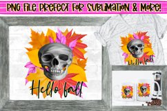 Hello Fall,Skull & Autumn Leaves PNG File Design|Sublimation Product Image 1