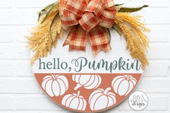 Hello Pumpkin SVG   Fall Round Sign Design Product Image 1