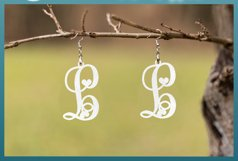 Monogram Initials Hearts Earring Bundle Faux Leather Jewelry Product Image 2